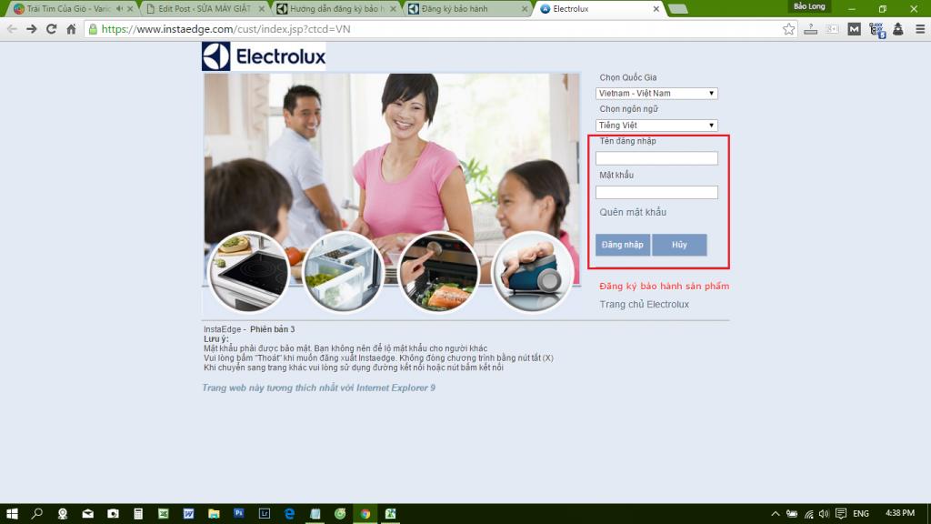 Đăng ký bảo hành máy giặt Electrolux