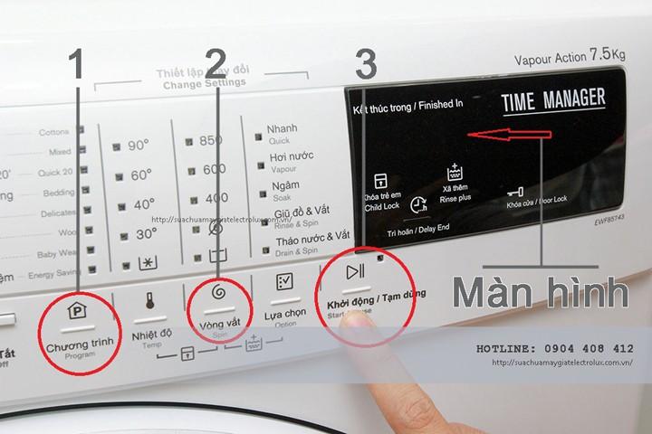 Chế độ vắt của máy giặt Electrolux ở máy không có đồng hồ điều khiển